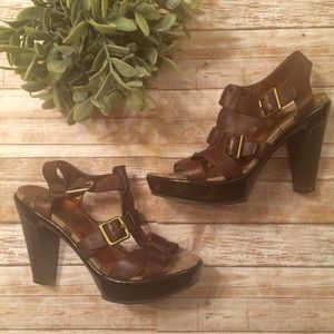 Coach Brown Leather Ankle Strap Sandals EUC